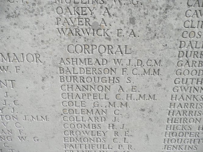 Part of Panel 72 at the Tyne Cot memorial near Ypres showing the name of F C Balderson MM