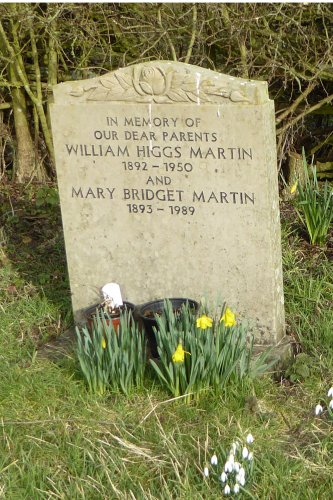 The grave of William Higgs Martin and his wife, Mary, in the old parish cemetery in Spratton
