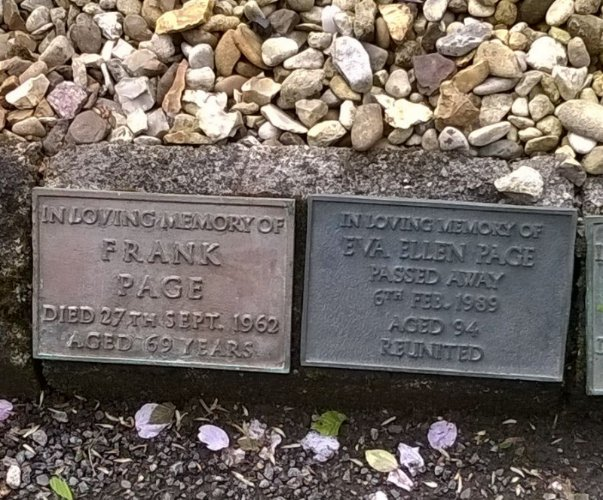 Memorial stones for Frank Page and his Wife Eva