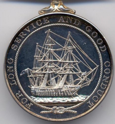 Reverse side of the Royal Navy Long Service and Good Conduct Medal