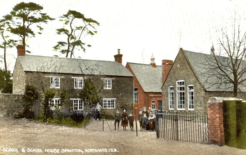 Spratton Primary School (right) with The Schoolmaster's House (left). William Whatton is standing in the doorway