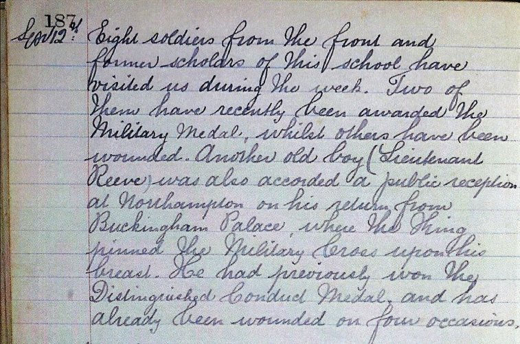 Extract from the log book for Spratton Primary School 12 September 1917 recording the visit of Lt G Reeve to the School.