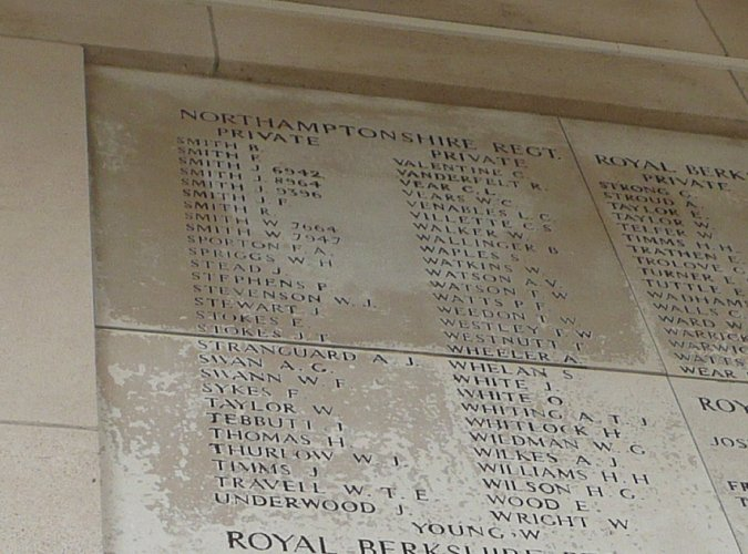 The name of J Smith 8964 on the Menin Gate, Ypres, Belgium, the memorial to those who have no known grave
