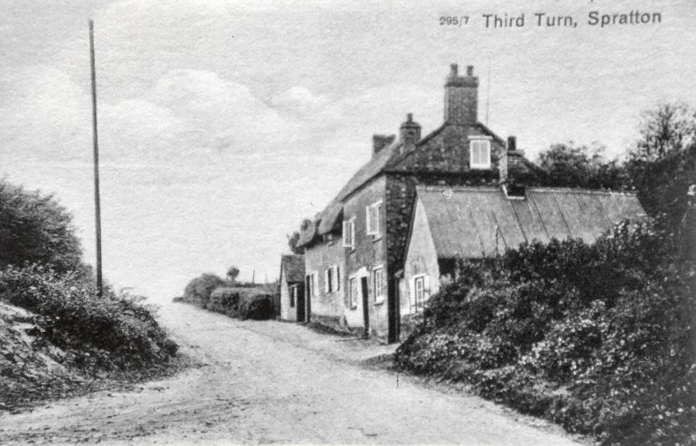 Fred Austin's house in Third Turn, Spratton with his shoemaking premises in the foreground. Frank Austin was born here