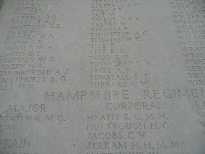 Detail of panel with the name of Ernest Tite of the Royal Sussex Regiment