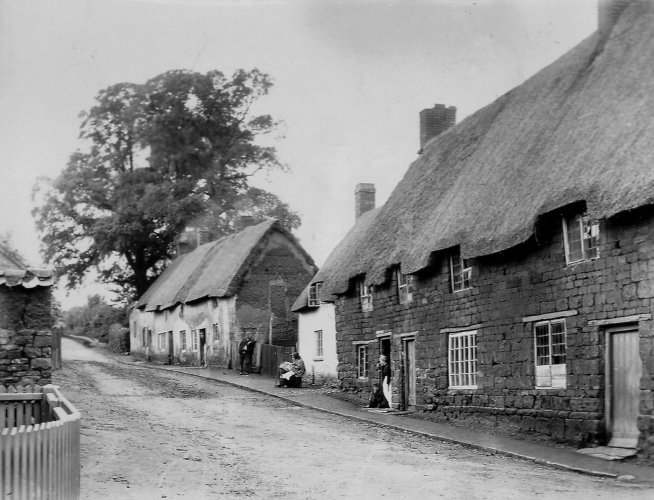 Thatched cottages in Holdenby Road, Spratton, where Benjamin Green and his family lived